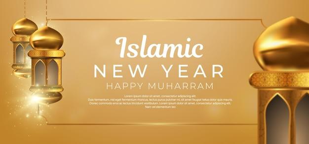 Design creativo del capodanno islamico con lanterne appese