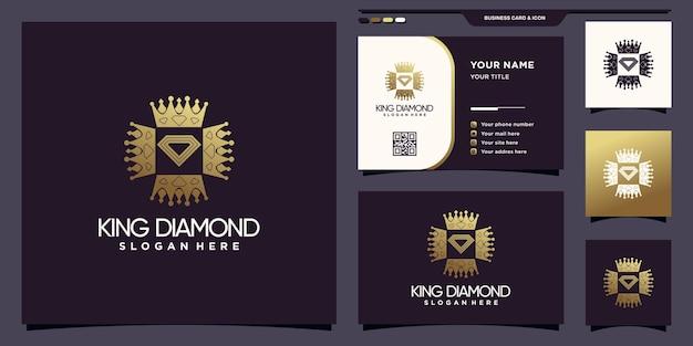 Logo creativo king diamond con colore in stile sfumato dorato e design del biglietto da visita vettore premium