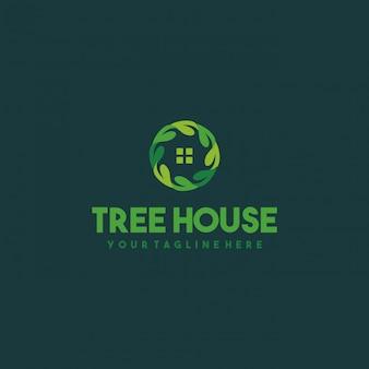 Design creativo del logo della casa foglia