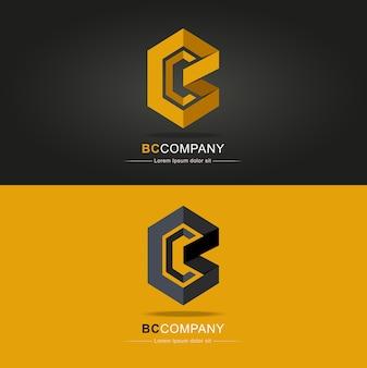 Modello creativo di vettore di progettazione di logo della lettera bc. bc lettera logo icon origami pattern desig