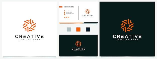 Lettera creativa f con modello di progettazione logo cerchio con biglietti da visita premium. ispirazioni logo f.