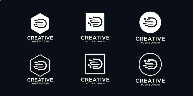 Lettera creativa set d logo della moderna tecnologia digitale. i loghi possono essere utilizzati per tecnologia, digitale, connessioni, società di computer
