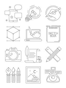 Icone linea creativa. processo degli artisti che marchiano a caldo le arti di simboli grafici di blogging isolate