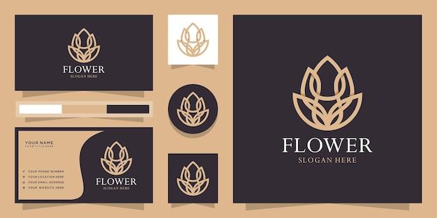 Logo creativo del fiore di loto di stile lineare