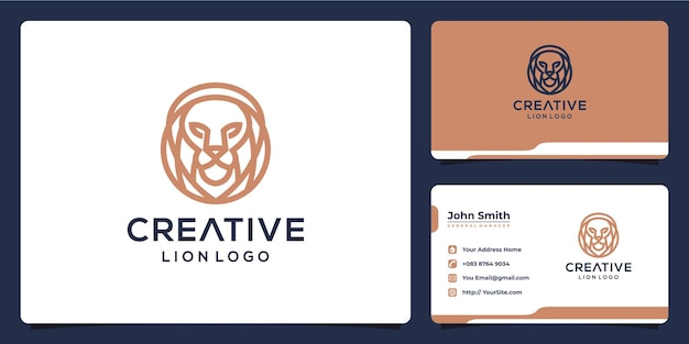 Design del logo di lusso monolinea leone creativo e biglietto da visita