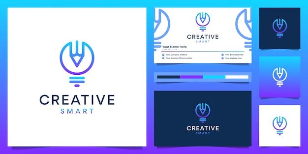 Design del logo creativo e biglietto da visita. lampadina a gradiente moderna e matita con stile fodera