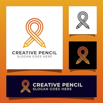 Design del logo creativo del simbolo della matita per la scuola, designer