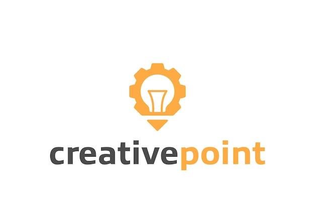 Logo creativo di lampadina e ingranaggio