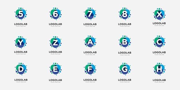 Lettera e numero del logotipo creativo con modello di logo del concetto di punto e molecola