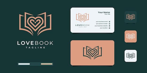 Modelli di design del logo del libro d'amore creativo.