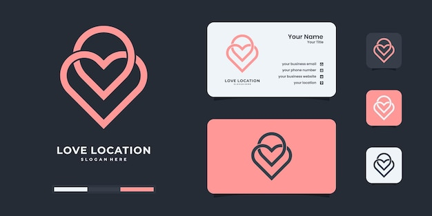 Modello di progettazione del logo della posizione dell'amore creativo. logo da utilizzare per l'identità del tuo marchio.