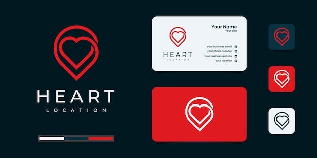 Luogo d'amore creativo con cuore e indicatore di mappa. modello e design del biglietto da visita