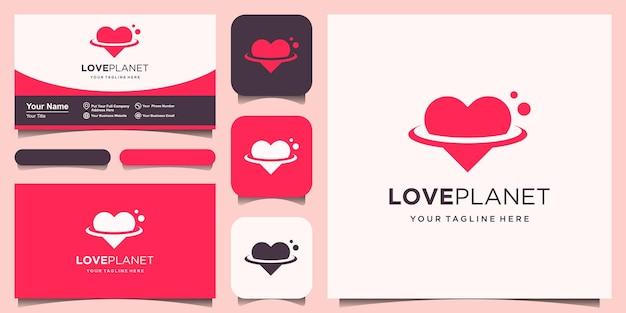 Creativo amore pianeta moderno orbita spazio globo mondo con cuore logo modello