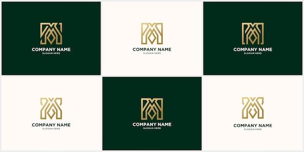 Logo creativo m monoline, logo m color oro collegato icona della lettera m di lusso