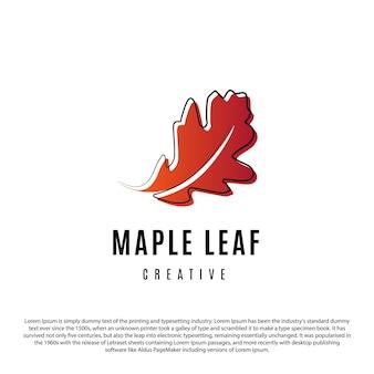 Design creativo del logo della foglia d'acero contorno minimalista e illustrazione vettoriale di foglia d'acero sfumata rossa