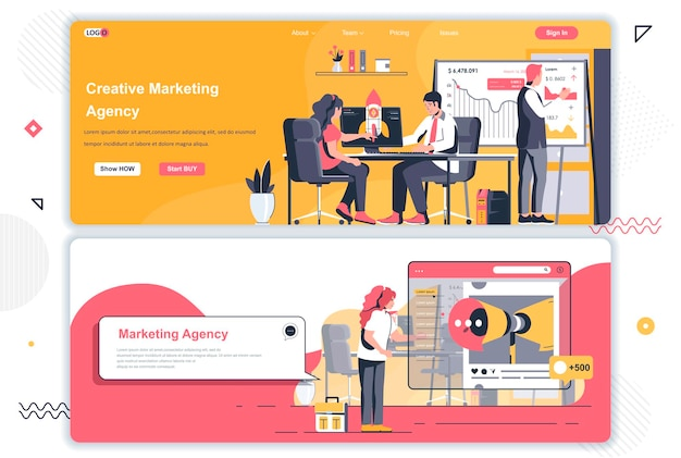 Pagine di destinazione dell'agenzia di marketing creativa