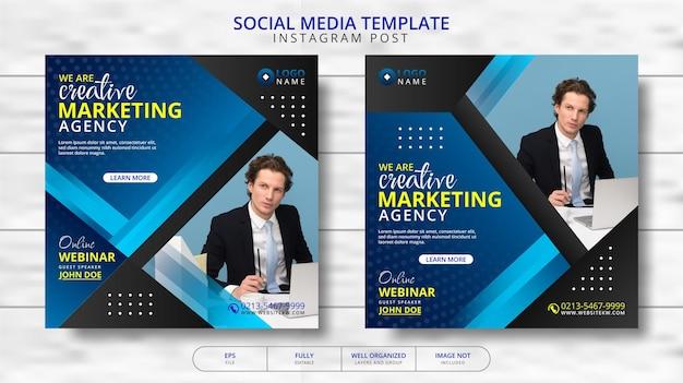 Agenzia di marketing creativo e webinar online per la promozione del modello di post sui social media