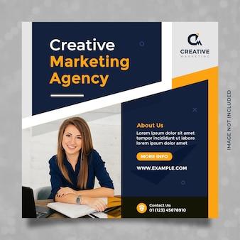 Design del modello di agenzia di marketing creativo per post e banner sui social media con blu scuro e arancione