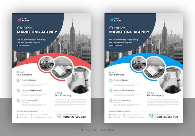 Progettazione di volantino promozionale di marketing creativo e modello di copertina