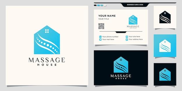 Massaggio creativo e logo della casa con concetto di spazio negativo e design di biglietti da visita vettore premium