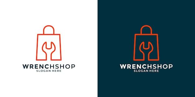 Design creativo del logo del negozio di attrezzature per officina meccanica per la tua attività