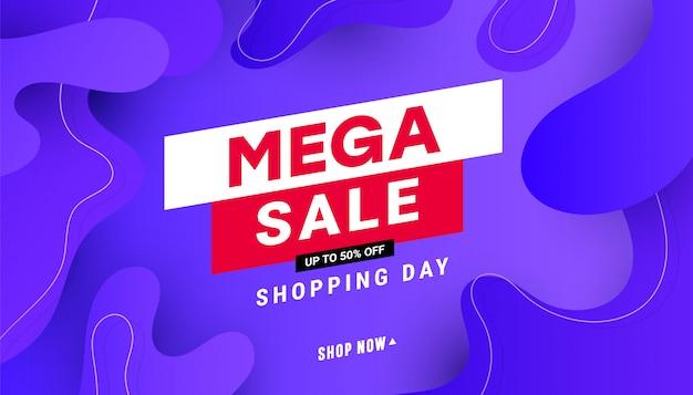 Modello di banner mega vendita creativo sconto con forma di liquido dell'onda, linea forme su sfondo sfumato.