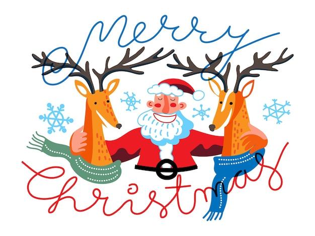 Cartolina d'auguri creativa di buon natale, babbo natale sorridente divertente che abbraccia le renne in sciarpa calda.