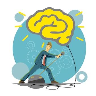 Mente creativa e illustrazione del cervello