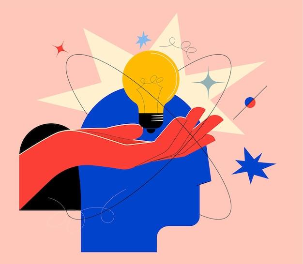 Mente creativa o brainstorming o concetto di idea creativa con silhouette astratta della testa umana