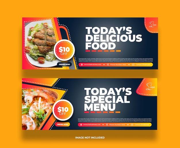 Banner di promozione post sui social media del ristorante di cibo astratto minimo creativo