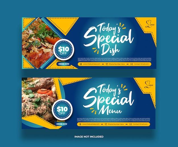 Banner di social media del ristorante di cibo di concetto minimo creativo per la promozione