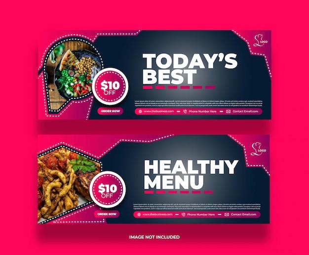 Banner di promozione post sui social media del ristorante di cibo minimo creativo
