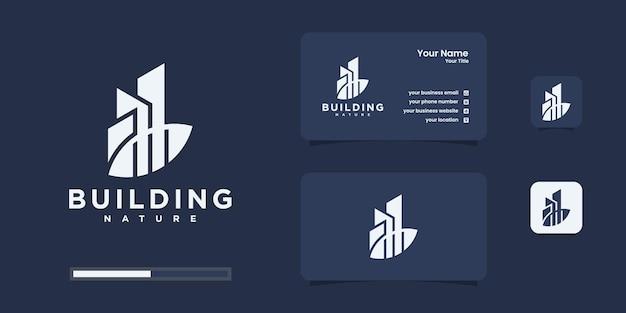 Design creativo del logo dell'edificio minimalista con il concetto di natura