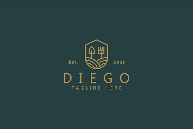 Creativo minimalista farm logo badge concept. pala e rastrello dentro lo scudo. identità del marchio di design modello classico.