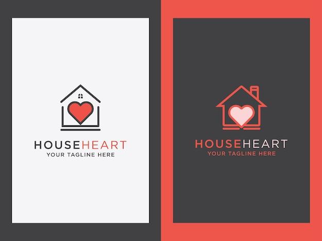 Casa minimalista creativa con un design dell'icona del cuore imposta il concetto di casa