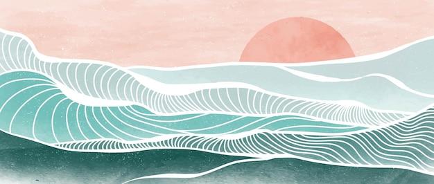 Pittura moderna e minimalista creativa e stampa artistica al tratto. onda oceanica astratta e paesaggi di sfondi estetici contemporanei di montagna. con mare, orizzonte, onda. illustrazioni vettoriali