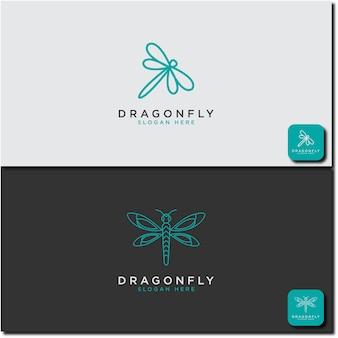 Modello creativo e minimalista design del logo dragonfly con stile line art