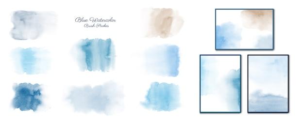 Insieme di raccolta blu dipinto a mano di acquerelli minimalisti creativi.