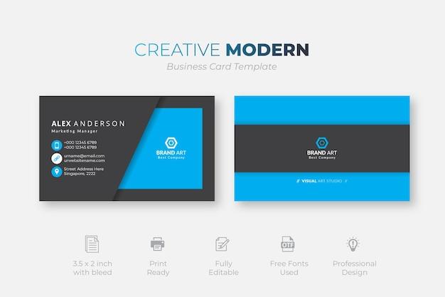 Modello di biglietto da visita moderno creativo con dettagli blu