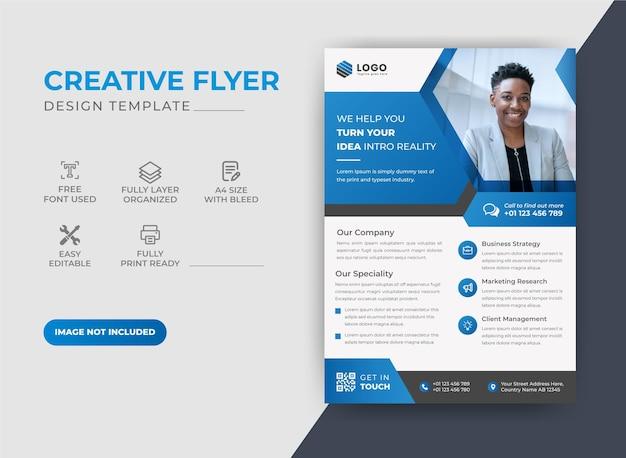 Design moderno e creativo per volantini di colore blu aziendale