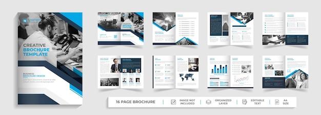 Profilo aziendale creativo moderno e design del modello di brochure multipagina bifold