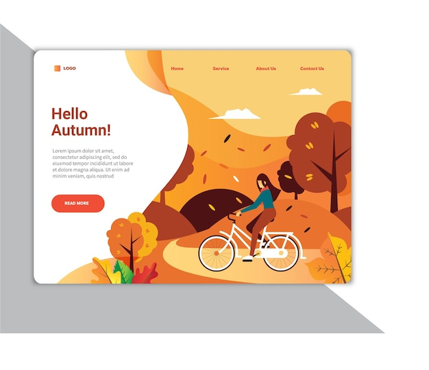 Creative modern hello autumn illustration ui landing page design