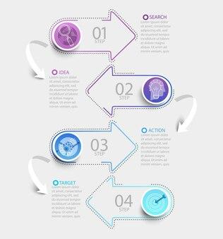 Infografica creativa moderna con visualizzazione dei dati della timeline aziendale. diagramma con frecce di carta, 4 passaggi, opzioni, parti, processi. modello per presentazione, layout del flusso di lavoro, banner. illustrazione di vettore.