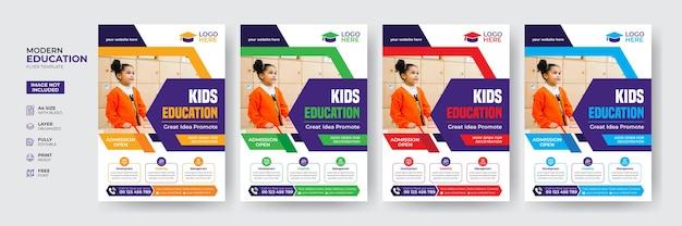 Modello di volantino di ammissione per l'educazione dei bambini creativo e moderno