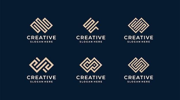 Insieme di logo di linea moderna creativa.