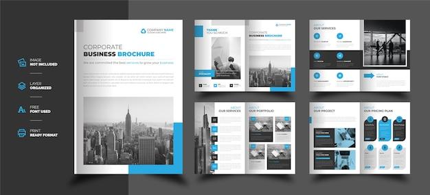 Brochure bifold di affari aziendali di forma moderna creativa Vettore Premium