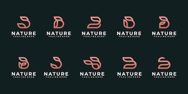Monogramma creativo lettera iniziale b con elemento foglia astratto