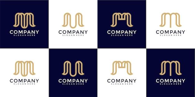 Iniziali del monogramma creativo m modello di progettazione del logo
