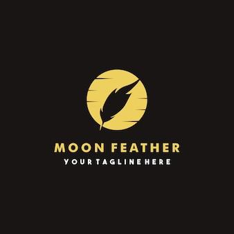 Design creativo logo piuma di luna
