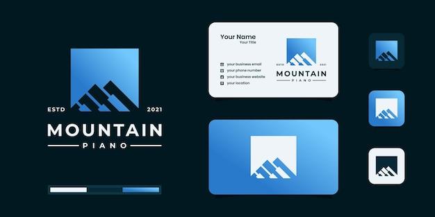 Combinazione creativa di montagna con ispirazione per il design del logo del pianoforte.